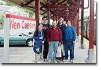 The group poses at New Canaan station