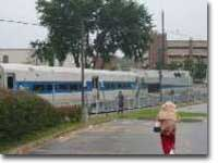 Empty Metro North train heads to layover yard in the rain after discharging passengers in Danbury