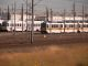 As seen from the CZ, a mixture of RT and borrowed VTA light rail cars sit in RT's facility in North Sacramento.