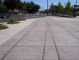 Fake tracks in plaza show where railroad used to go.  Historic Folsom LRT station is just to the right.